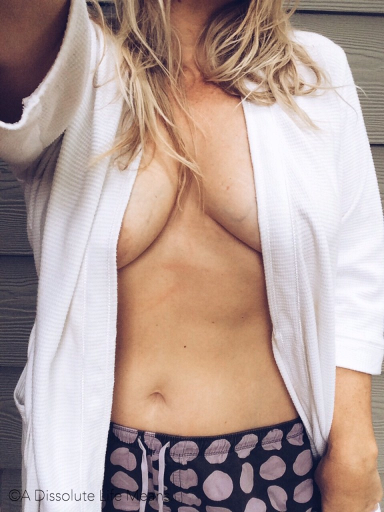 Hy outside in her robe